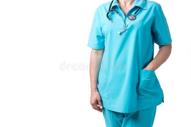 Conceito da medicina e dos cuidados m?dicos Doutor com o estetosc?pio na cl?nica, close-up fotos de stock