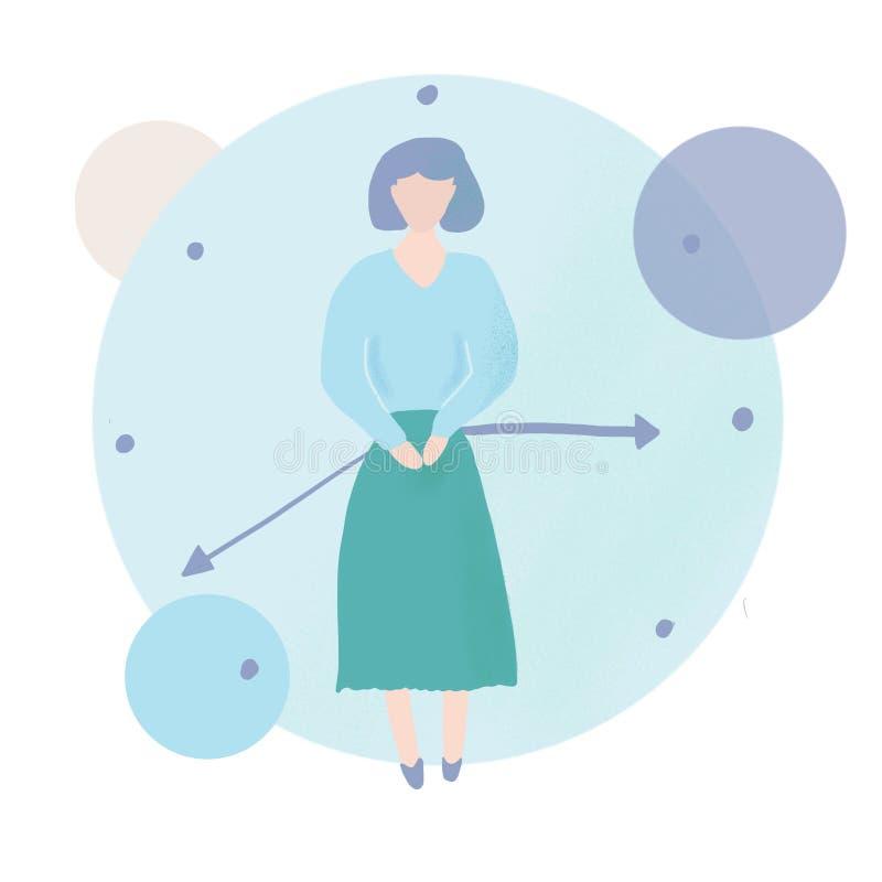 Conceito da menopausa sob a forma da mulher ilustração do vetor