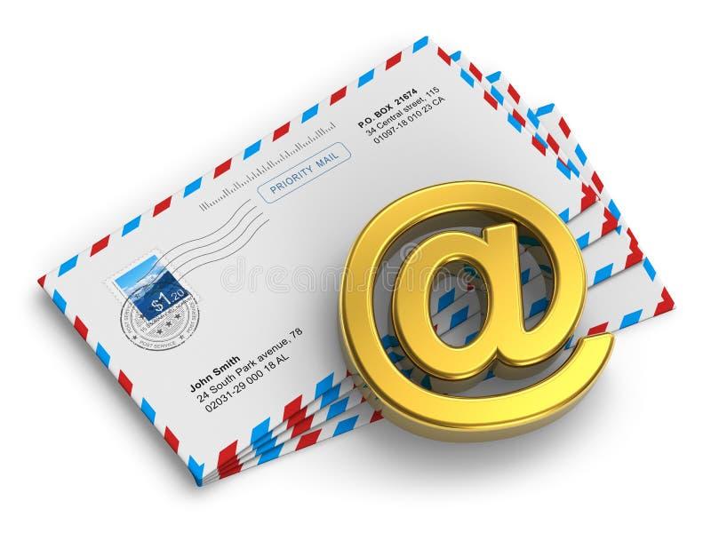 Conceito da mensagem do email e do Internet ilustração royalty free