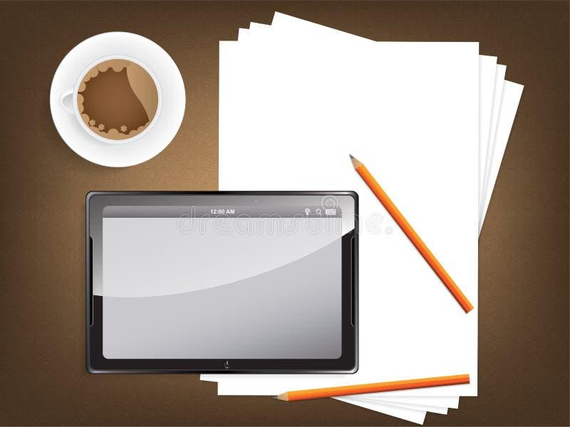 Conceito da mesa com um papel vazio e uma tabuleta moderna ilustração stock