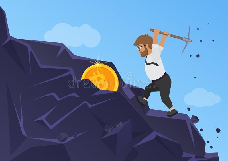 Conceito da mineração de Bitcoin Moeda de escavação do homem de negócio da rocha ilustração do vetor