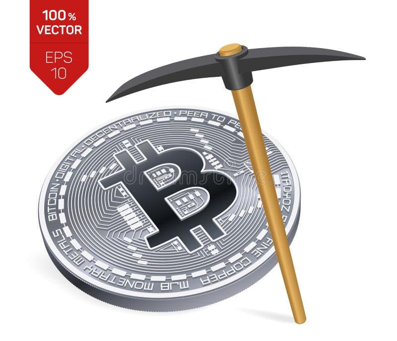 Conceito da mineração de Bitcoin moeda física isométrica do bocado 3D com picareta Moeda de Digitas Cryptocurrency Bitcoin de pra ilustração do vetor