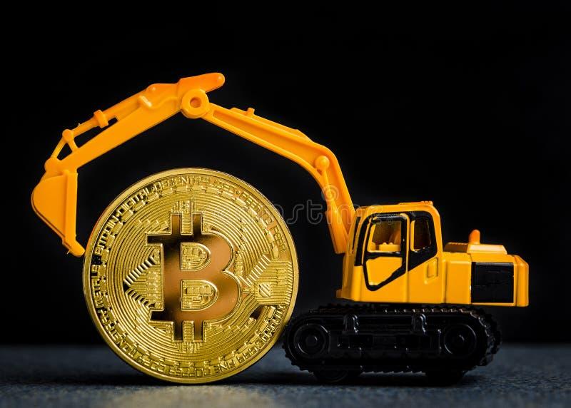 Conceito da mineração do cryptocurrency de Bitcoin Tecnologia de Blockchain MI fotografia de stock royalty free