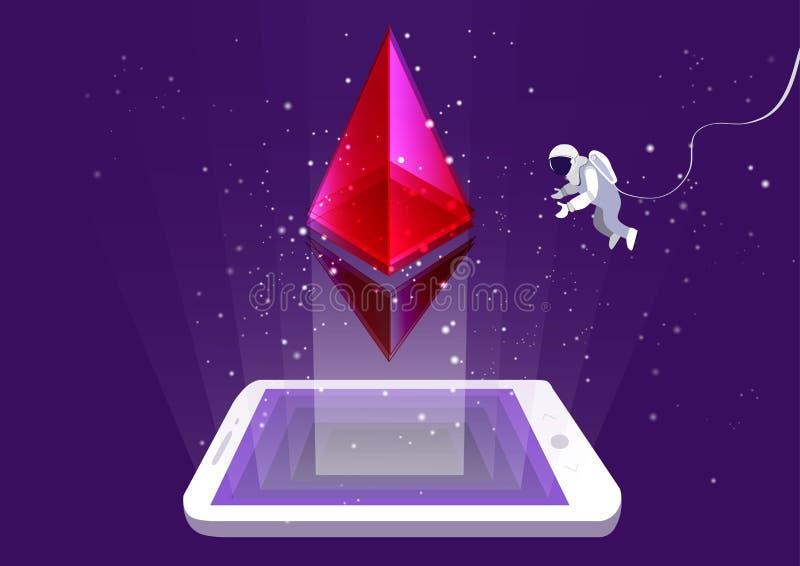 Conceito da mineração do cryptocurrency do ethereum ilustração royalty free