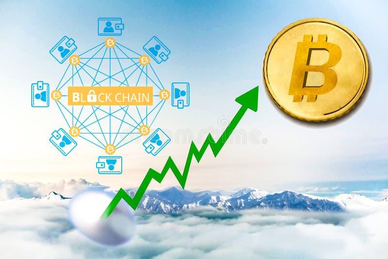 Conceito da moeda digital Bolha do sinal de Bitcoin, inflação imagem de stock