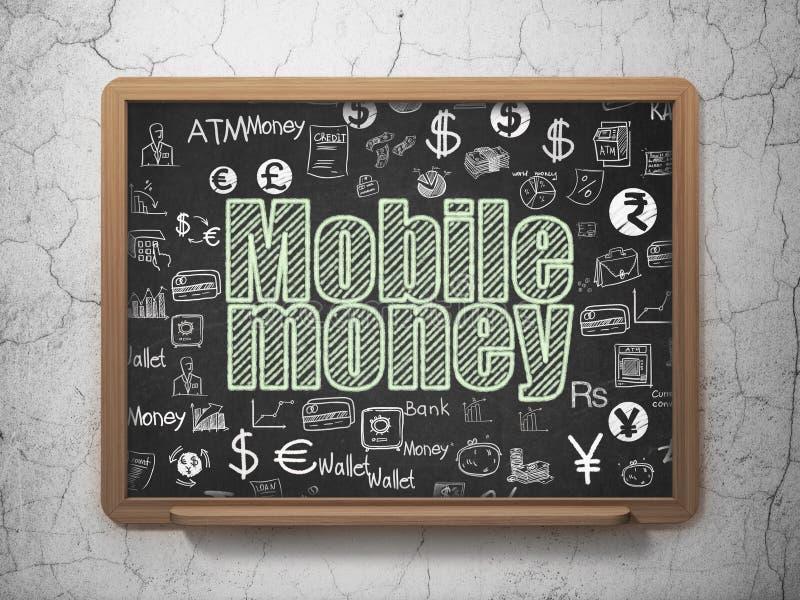 Conceito da moeda: Dinheiro móvel no fundo da administração da escola ilustração do vetor