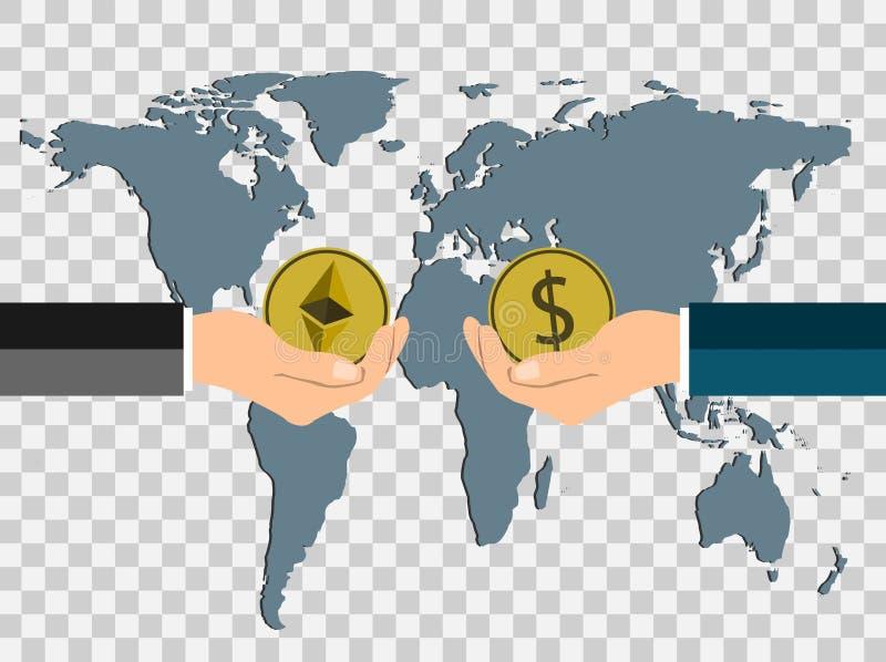 Conceito da moeda do negócio troque o dólar das moedas ao ethereum à mão para entregar no mundo do mapa do fundo, fundo transpare ilustração stock