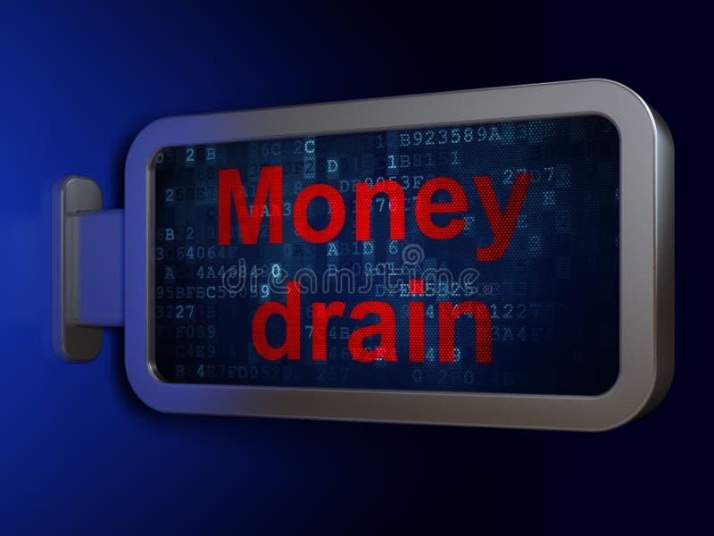 Conceito da moeda: Dreno do dinheiro no fundo do quadro de avisos imagens de stock