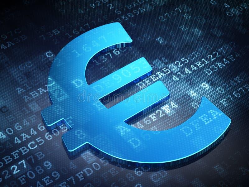 Conceito da moeda: Euro azul no fundo digital fotos de stock
