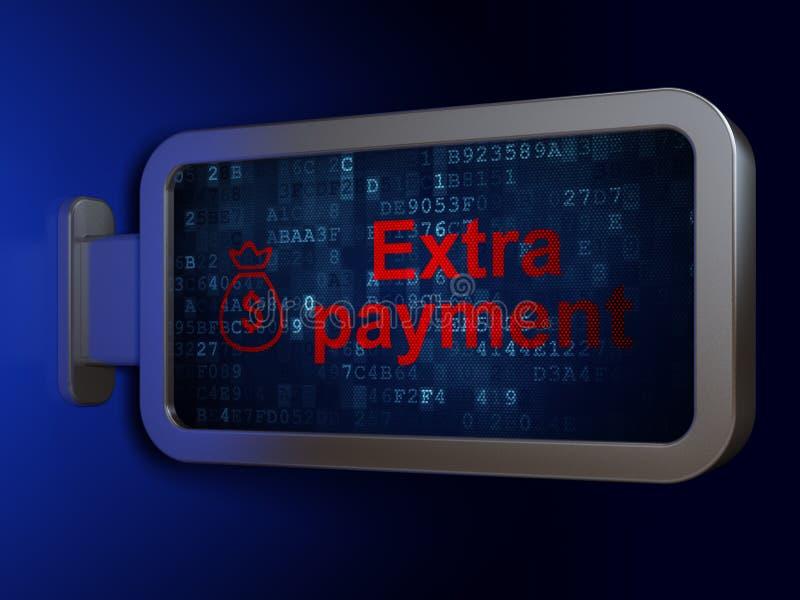 Conceito da moeda: O pagamento extra e o dinheiro ensacam no fundo do quadro de avisos ilustração royalty free