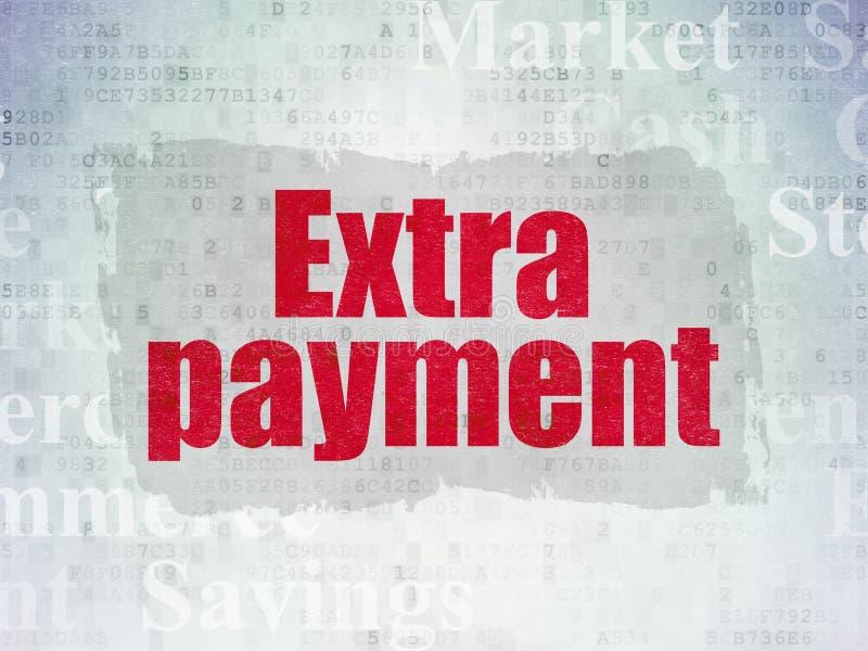 Conceito da moeda: Pagamento extra no fundo do papel dos dados de Digitas ilustração royalty free