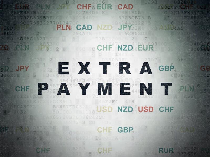 Conceito da moeda: Pagamento extra no fundo do papel dos dados de Digitas ilustração do vetor