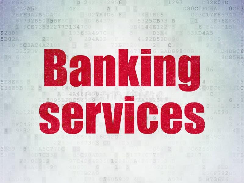 Conceito da moeda: Serviços de operação bancária no fundo do papel dos dados de Digitas foto de stock