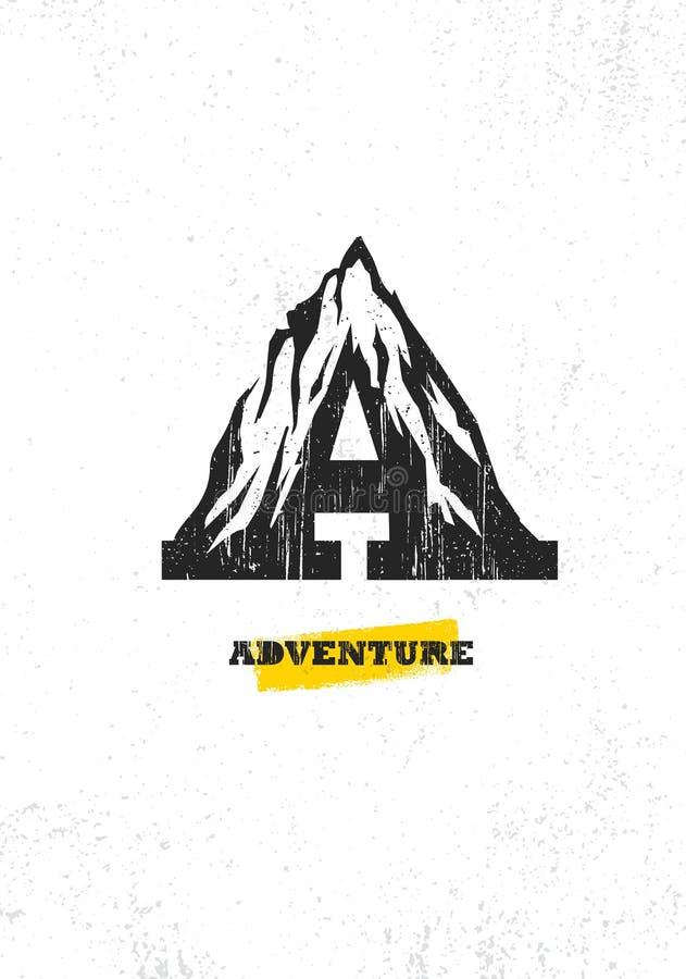 Conceito da motivação da caminhada da montanha da aventura Projeto exterior do vetor no fundo afligido áspero Rotule um ícone cri ilustração stock