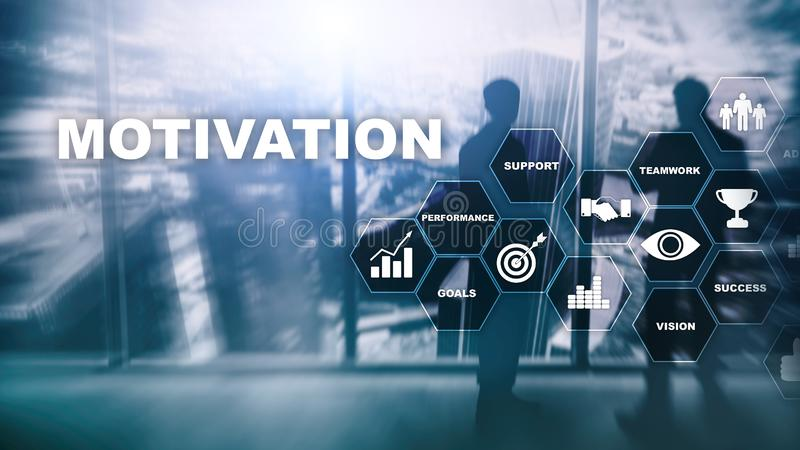 Conceito da motivação com elementos do negócio Equipe do negócio r Meios mistos imagem de stock