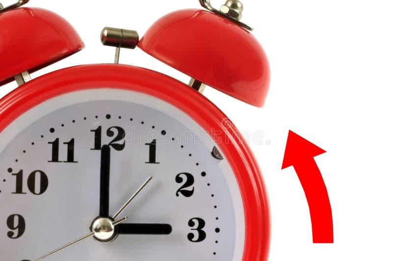 Conceito da mudança do tempo com um despertador e uma seta ilustração royalty free