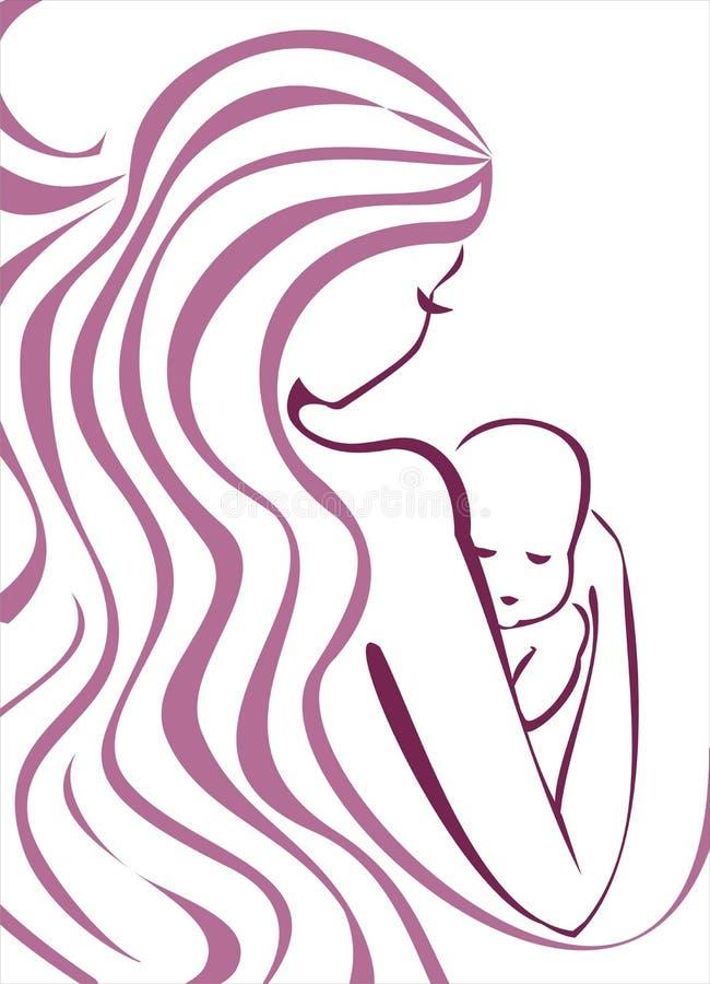 Conceito da mulher e do bebê ilustração do vetor