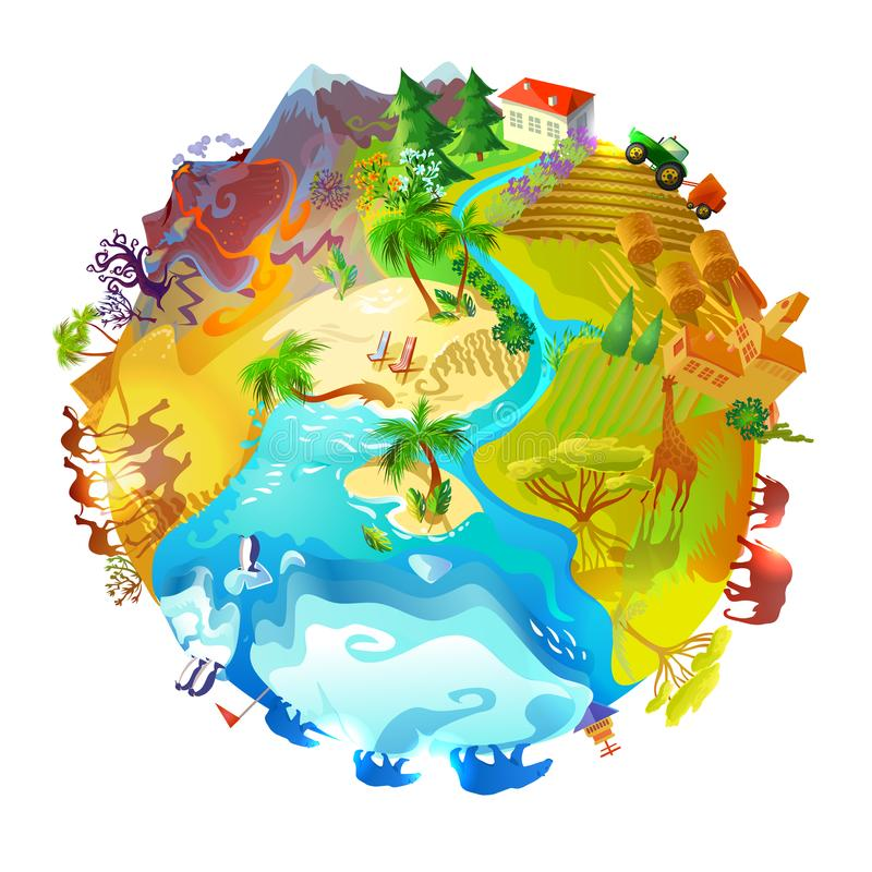Conceito da natureza do planeta da terra dos desenhos animados ilustração royalty free