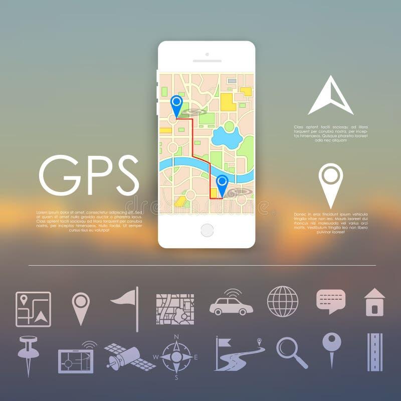 Conceito da navegação de GPS ilustração do vetor
