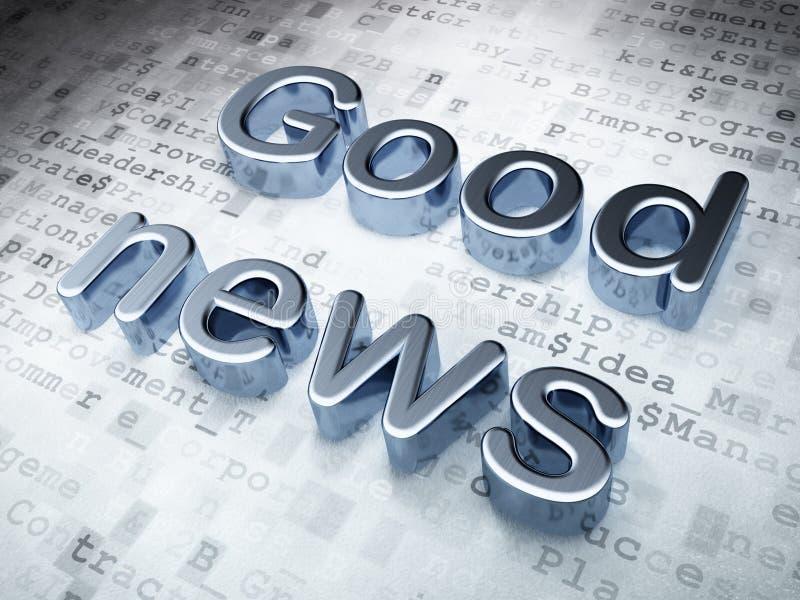 Conceito da notícia: Boa notícia de prata em digital ilustração stock