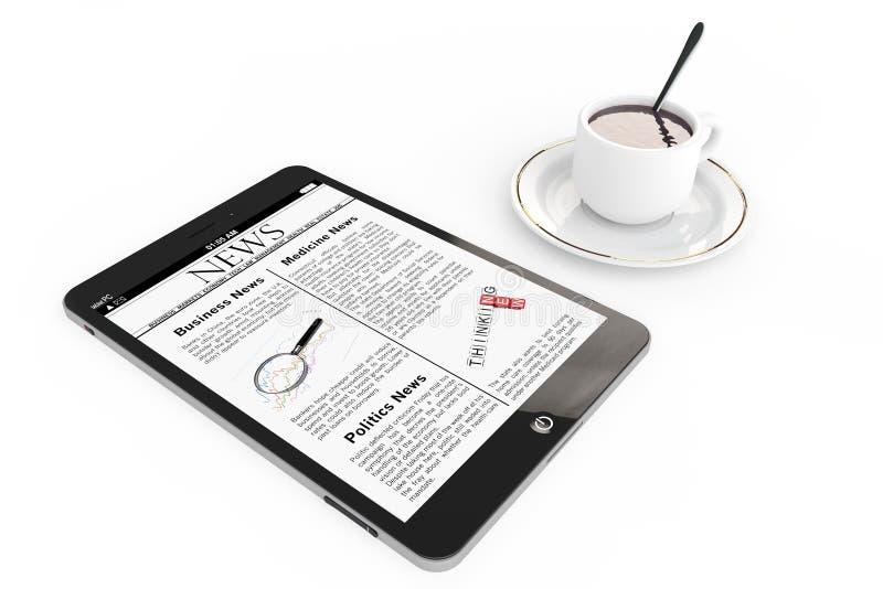 Conceito da notícia da manhã. PC e xícara de café modernos da tabuleta fotografia de stock