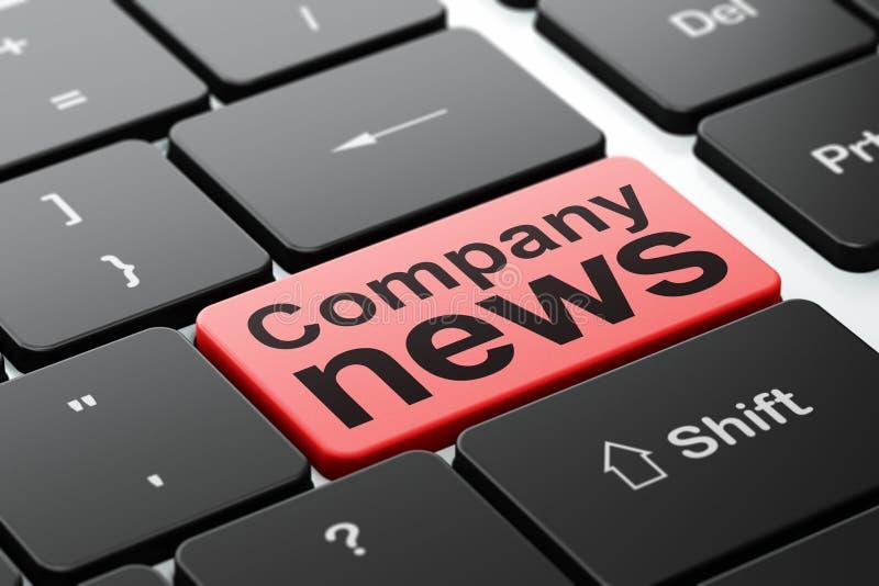 Conceito da notícia: Notícia da empresa no fundo do teclado de computador ilustração royalty free
