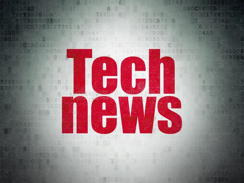 Conceito da notícia: Notícia da tecnologia no fundo do papel dos dados de Digitas ilustração royalty free