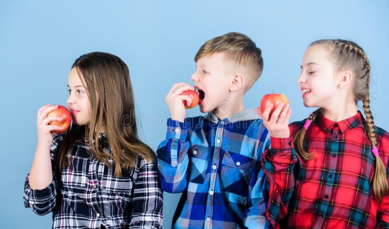Conceito da nutri??o da vitamina Coma o fruto e para ser saud?vel E r O menino e os amigos de meninas comem fotografia de stock royalty free