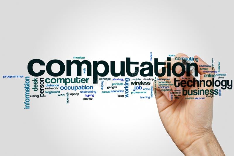 Conceito da nuvem da palavra da computação no fundo cinzento imagem de stock royalty free