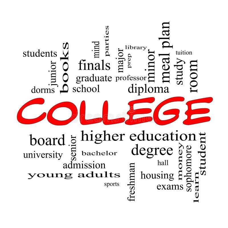 Conceito da nuvem da palavra da faculdade em tampões vermelhos ilustração stock