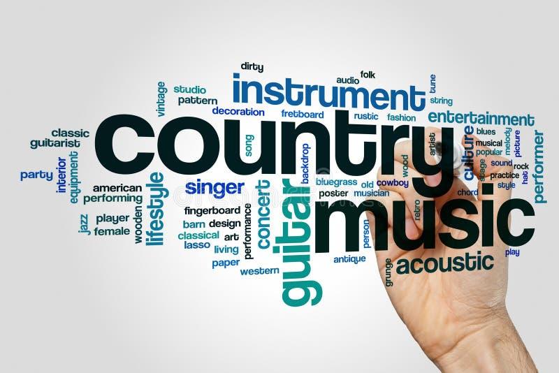 Conceito da nuvem da palavra da música country no fundo cinzento fotografia de stock royalty free