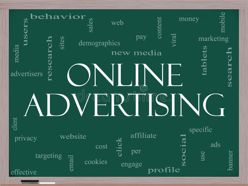 Conceito da nuvem da palavra da publicidade online em um quadro-negro ilustração royalty free