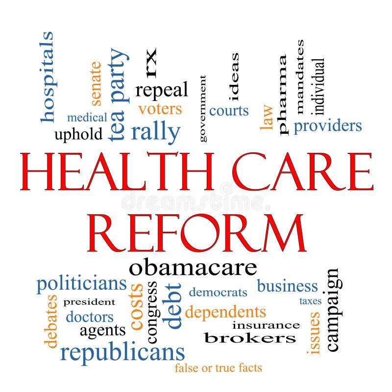 Conceito da nuvem da palavra da reforma dos cuidados médicos ilustração do vetor