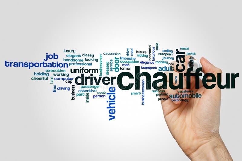 Conceito da nuvem da palavra de Chauffer no fundo cinzento imagens de stock royalty free