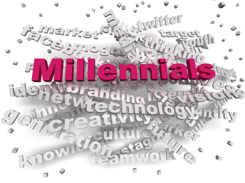 conceito da nuvem da palavra de Millennials da imagem 3d ilustração do vetor