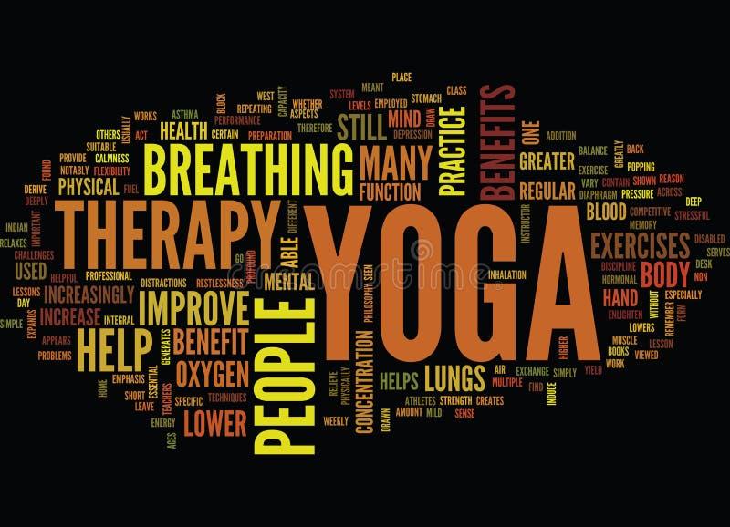 Conceito da nuvem da palavra do fundo do texto da terapia da ioga ilustração royalty free