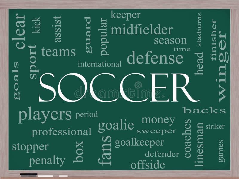 Conceito da nuvem da palavra do futebol em um quadro-negro ilustração stock