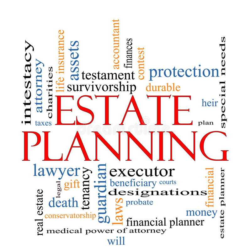 Conceito da nuvem da palavra do planeamento imobiliário ilustração royalty free