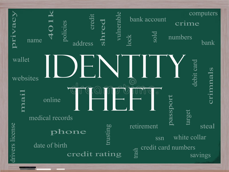 Conceito da nuvem da palavra do roubo de identidade em um quadro-negro ilustração stock