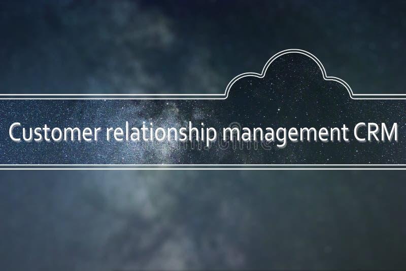 Conceito da nuvem da palavra de CRM do gerenciamento de relacionamento com o cliente espaço ilustração royalty free