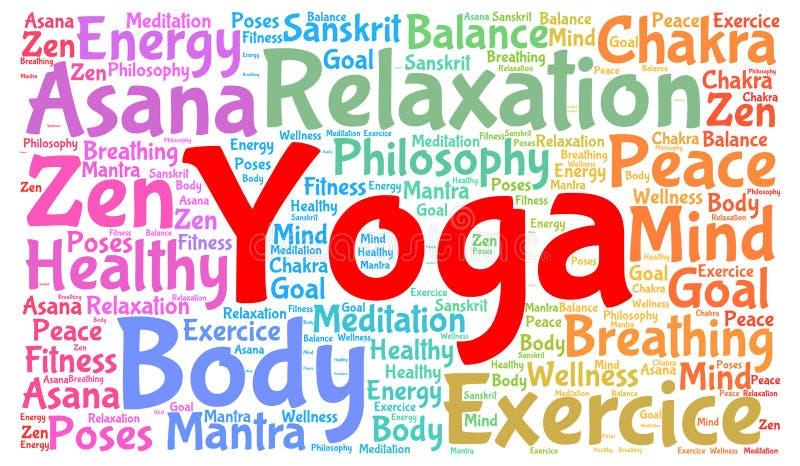 Conceito da nuvem da palavra da ioga ilustração royalty free
