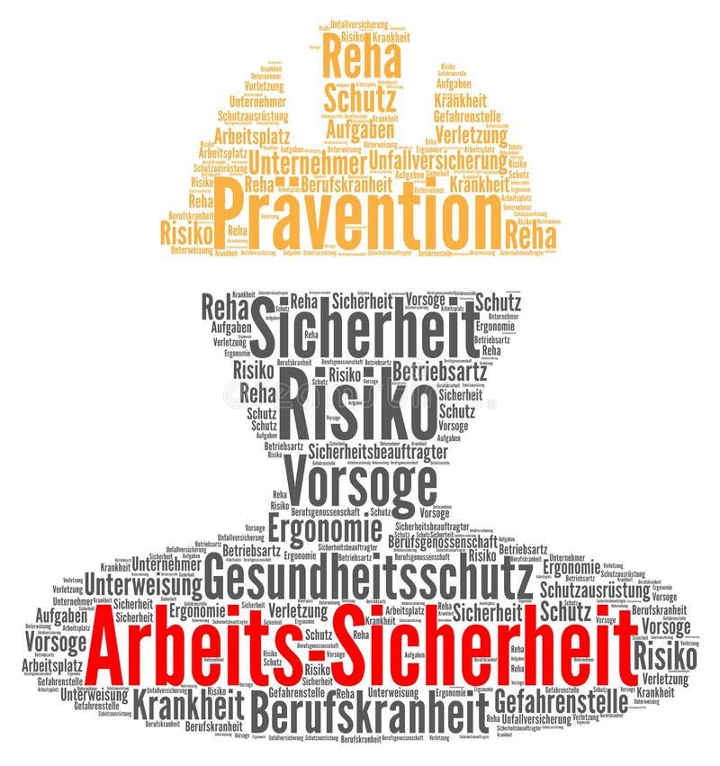 Conceito da nuvem da palavra da segurança do trabalho no alemão ilustração do vetor