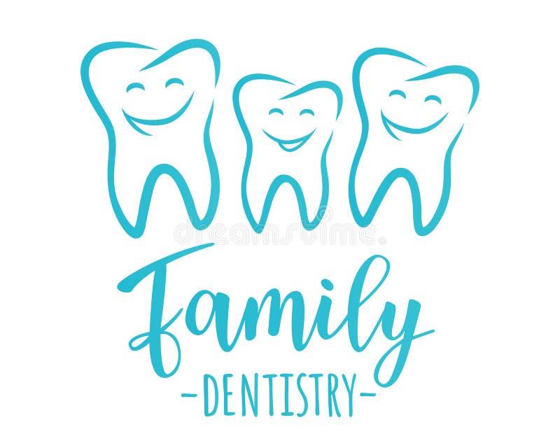 Conceito da odontologia da família ilustração do vetor