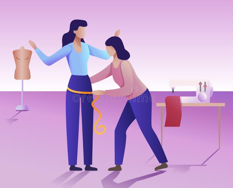 Conceito da oficina da roupa A ilustração lisa do vetor Um alfaiate faz uma medida do corpo da mulher ilustração do vetor