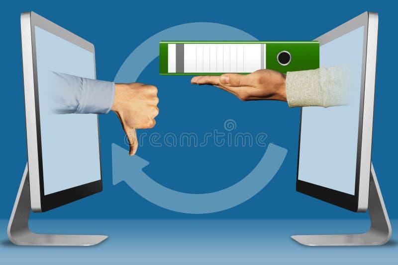 conceito da Olá!-tecnologia, duas mãos das exposições polegares para baixo, desagrado e dobrador ilustração 3D ilustração do vetor