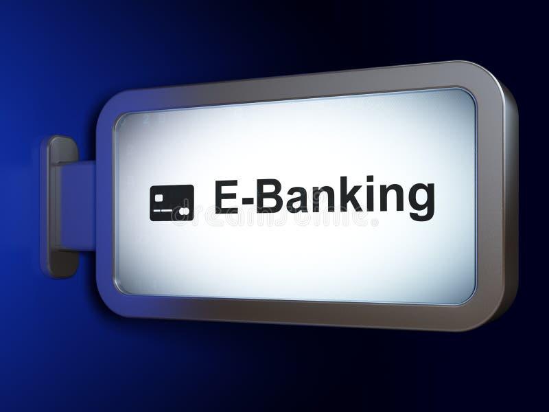 Conceito da operação bancária: Cartão da E-operação bancária e de crédito no fundo do quadro de avisos fotos de stock