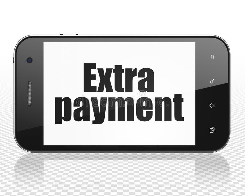 Conceito da operação bancária: Smartphone com pagamento extra na exposição ilustração royalty free