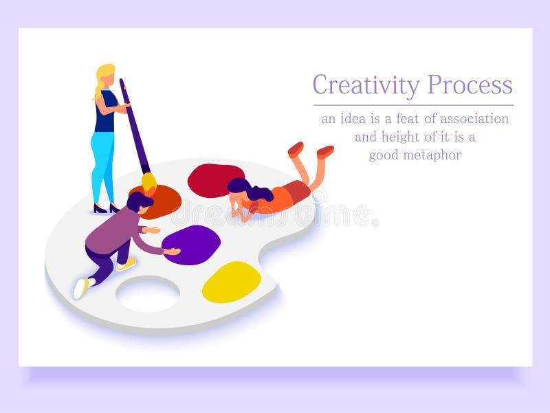 Conceito da página da aterrissagem Povos na paleta que comunicam-se Processo creativo Ilustração isométrica ilustração stock