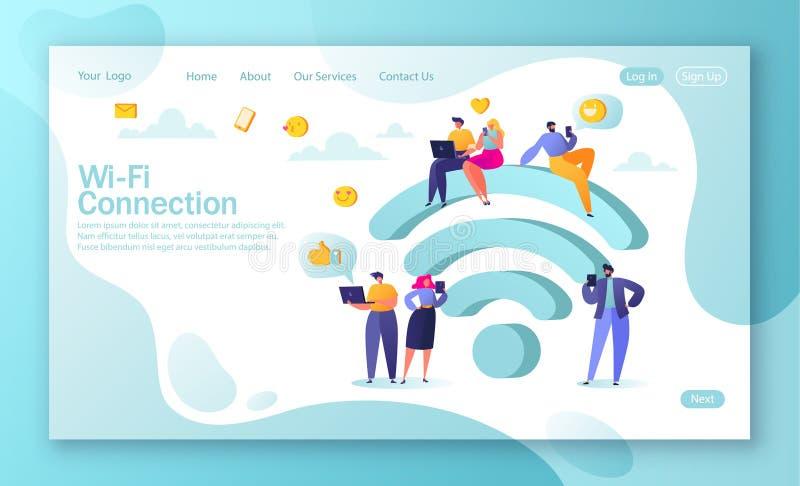 Conceito da página de aterrissagem na conexão social de Wi-Fi do fnd do tema da rede dos meios ilustração stock