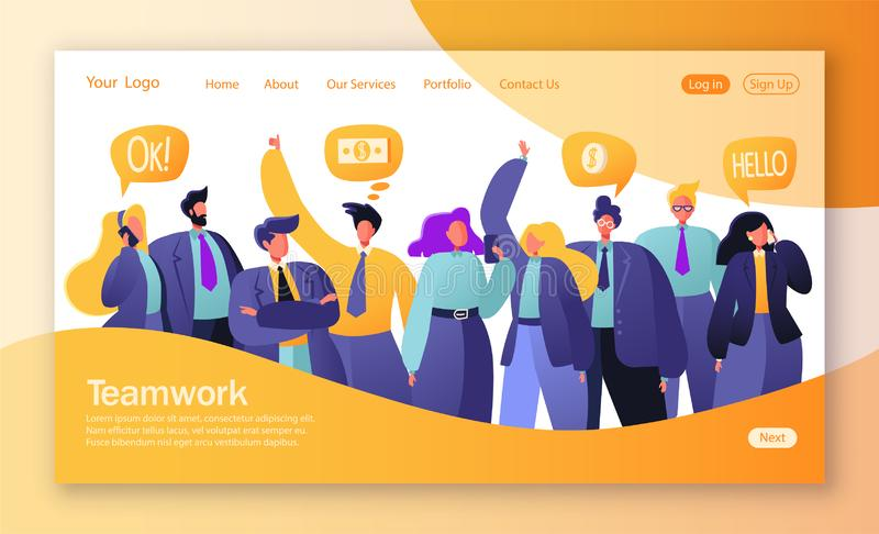 Conceito da página de aterrissagem no tema dos trabalhos de equipe Ilustração do vetor para o desenvolvimento do Web site e o pro ilustração royalty free